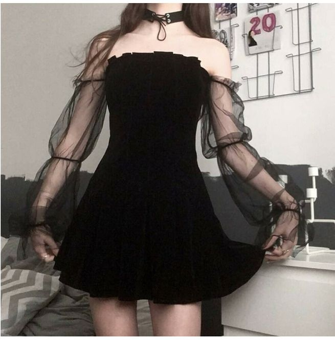 Photo of Lolita Sexy Mesh Pleated Skirt High Waist Wrapped Chest Strap Dress