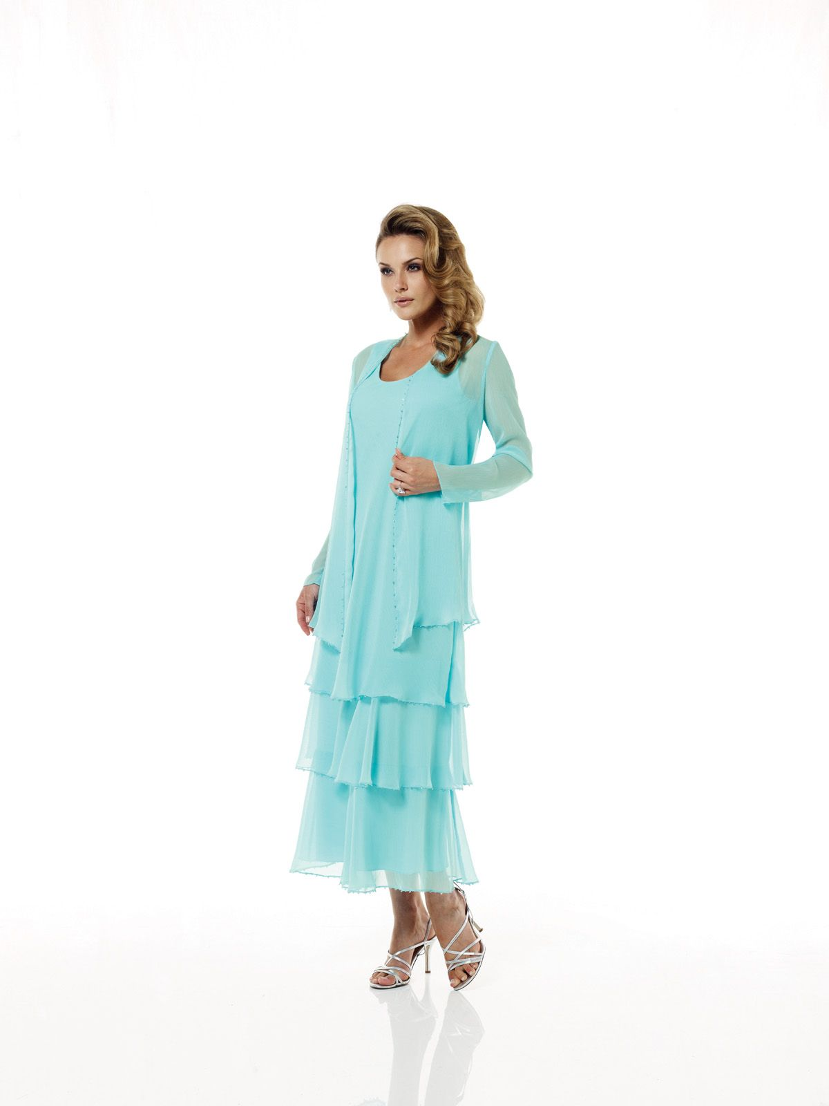 Turquoise Tiered Mother of the Bride Dresses