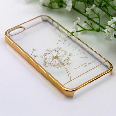 50pcs/LOT Electroplating dandelion stylish Clear Crystal Diamond Transparent Hard Case Cover For iphone 5 5s - Hespirides Gifts - 1