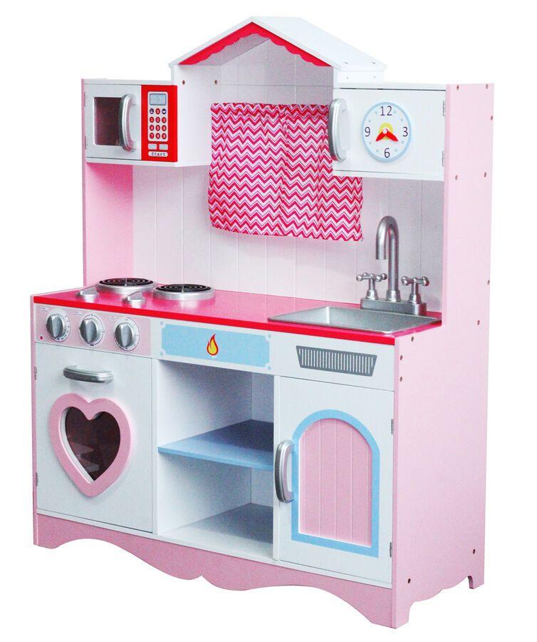 MCC? Large Girls Kids Pink Wooden Play Kitchen Children\'s ...