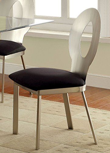Furniture of America Maiorga Oval Keyhole Design Dining Chair Set of ...