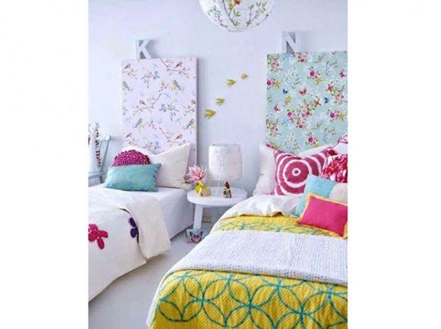 une planche de m dium tapiss e en t te de lit recouvrez une planche de m dium d 39 un papier peint. Black Bedroom Furniture Sets. Home Design Ideas