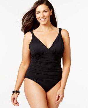 3a76c09b905 Lauren Ralph Lauren Plus Size Tummy-Control Ruched One-Piece Swimsuit -  Black 20W