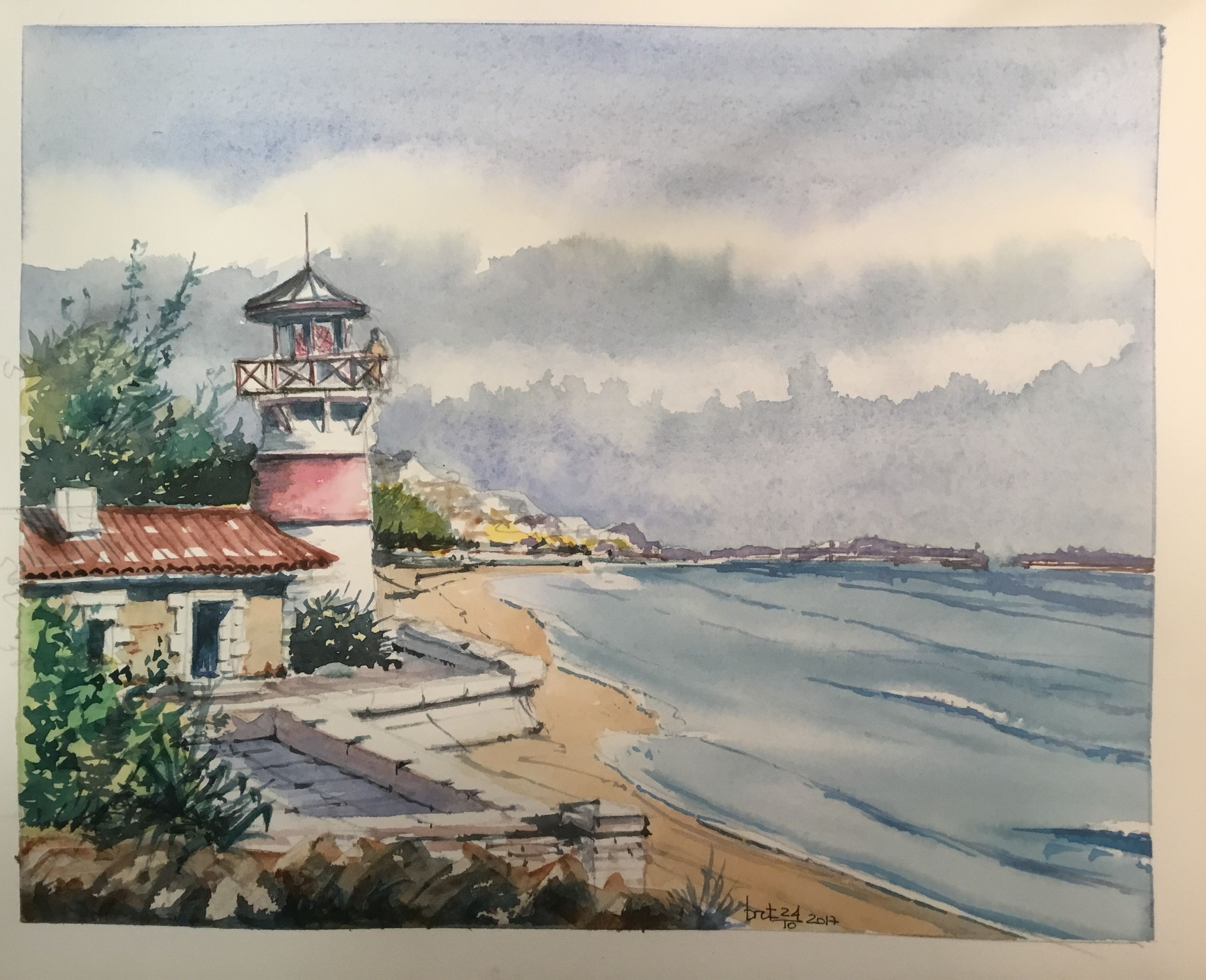 Light House Bretagne Watercolor Marine Aquarelle Phare Aquarelle