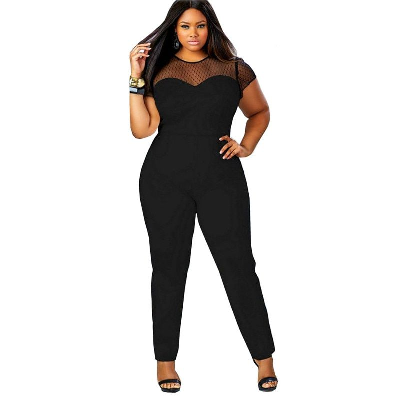 2018 New Big Size Casual Office Work Summer Women Jumpsuit O Neck Patchwork  Lace Jumpsuit Large 68e33cb5bba3