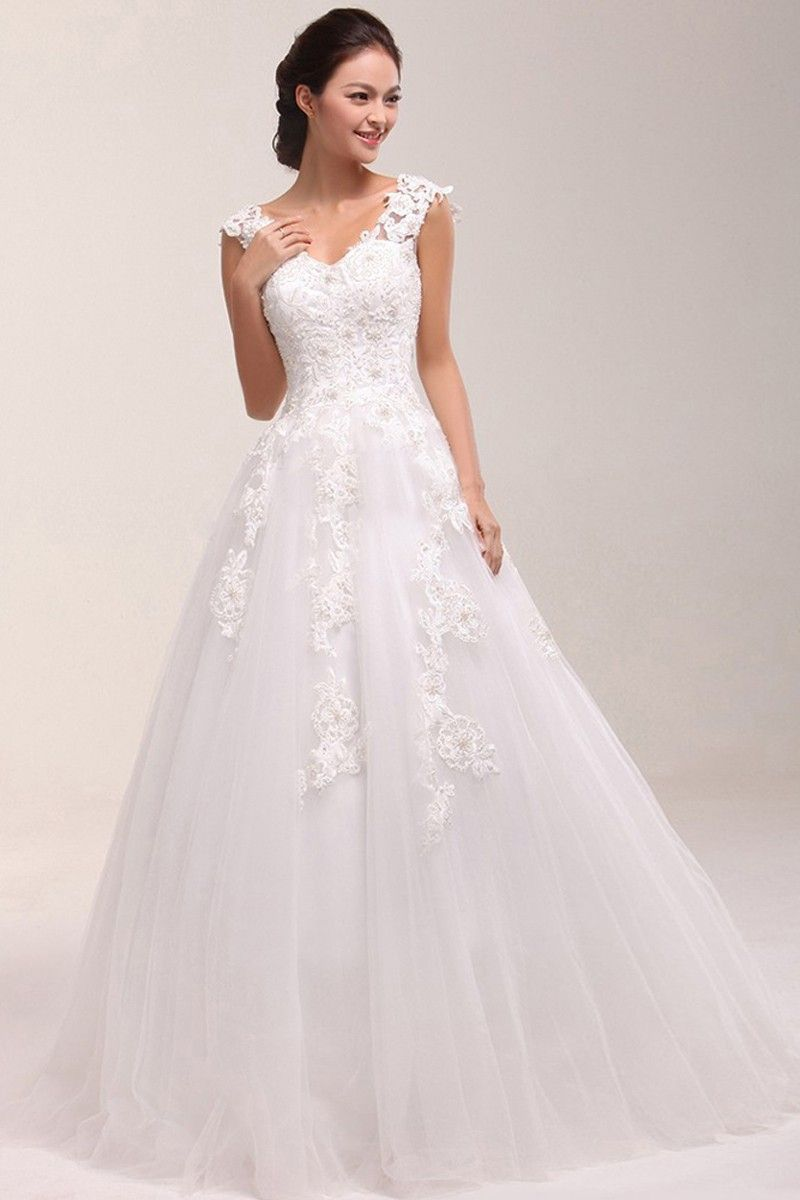 Best seller: A-line Sweetheart Straps Lace Tulle Court Train Wedding ...