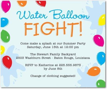 studio basics party invitations water balloon fight  front, party invitations