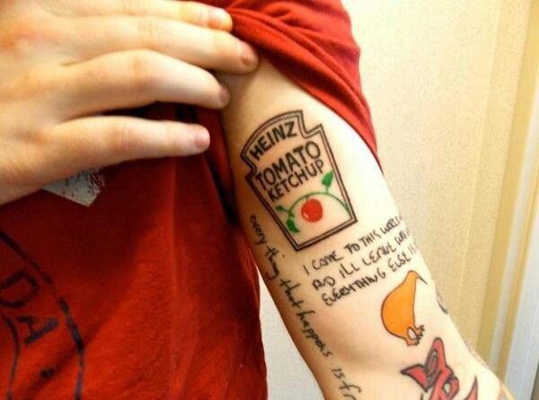 Ed Sheeran's New ketchup tattoo :) | Ed sheeran tattoo, Ed sheeran ...