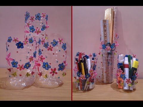 Best out of waste plastic bottle converted to floral table for Best out of waste ideas from plastic bottles