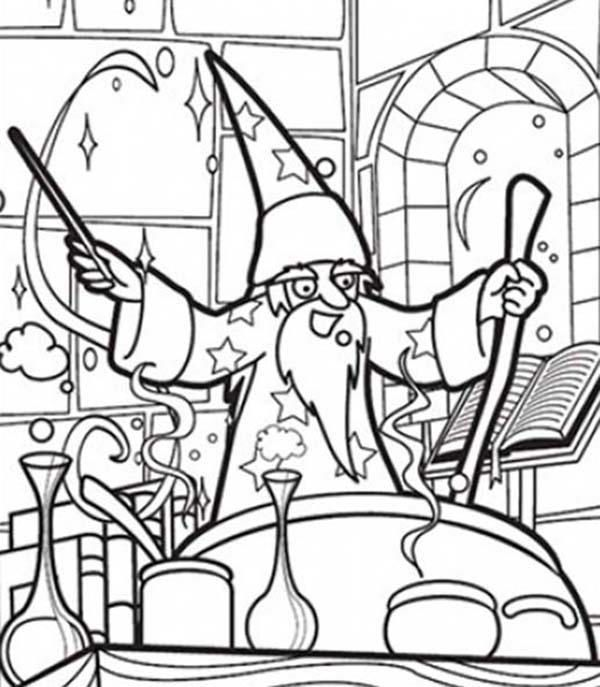 Merlin The Wizard Making Magic Potion Coloring Pages (With ...
