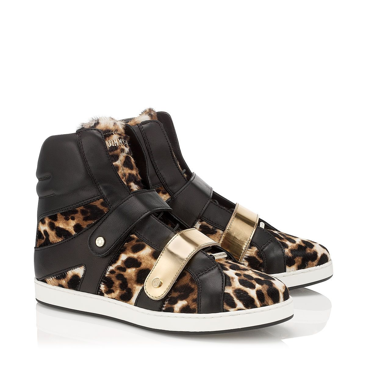 Jimmy Choo - Yazz - 141yazzlnm - Natural, Black and Gold Nappa and Mirror  Leather