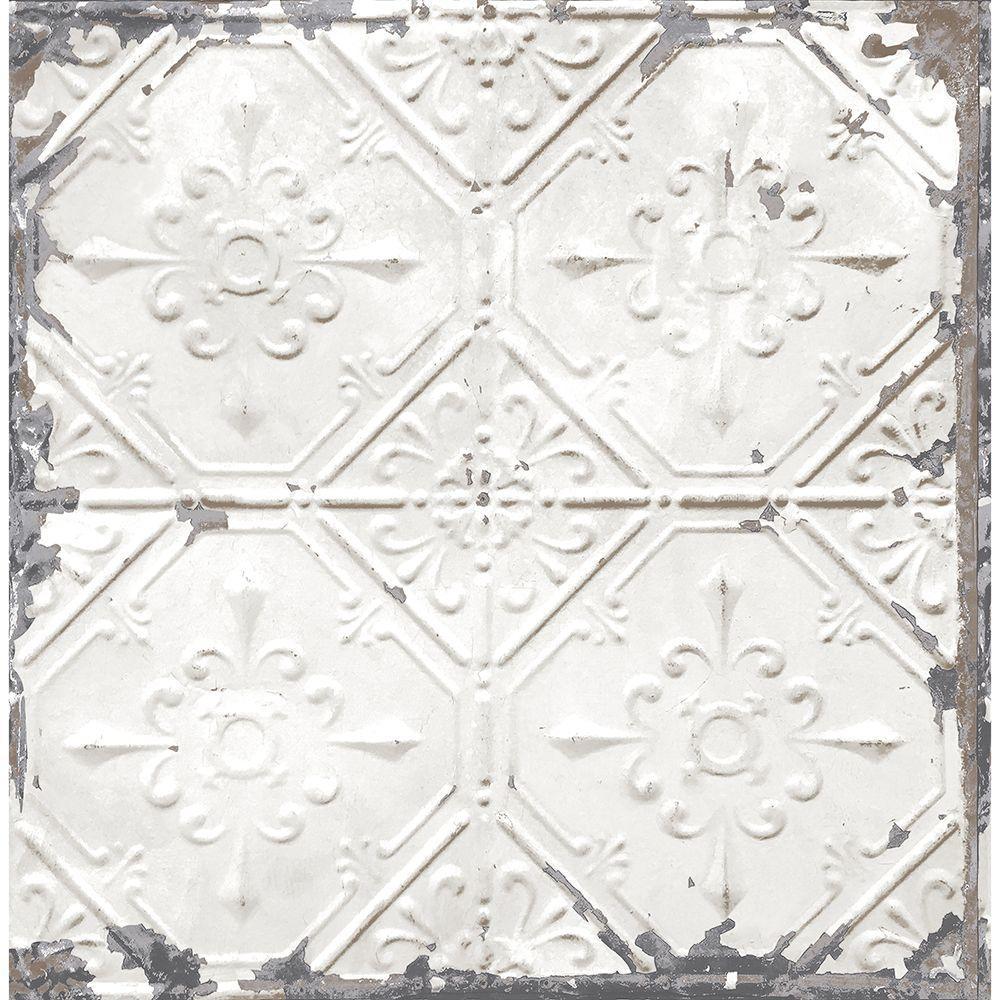 White Tin Ceiling Distressed Tiles Wallpaper Sample Vintage Tin Tiles White Tin Ceiling Antique Tin Ceiling Tile