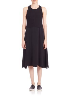 4e3f9b9a0384d T BY ALEXANDER WANG Rib-Knit Cotton   Silk Combo Tank Dress.   tbyalexanderwang  cloth  dress
