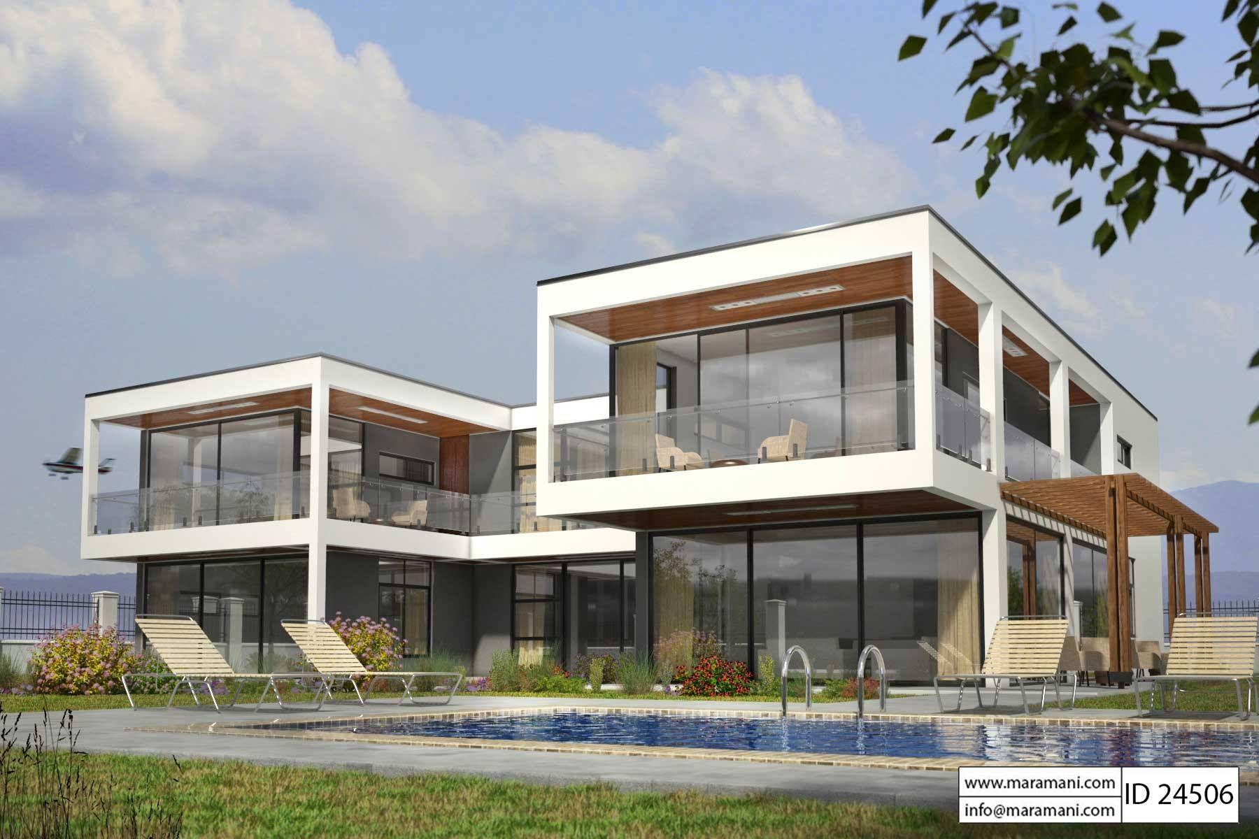 4 Bedroom House Plan Id 24506 Modern Glass House House Plans Glass House Design