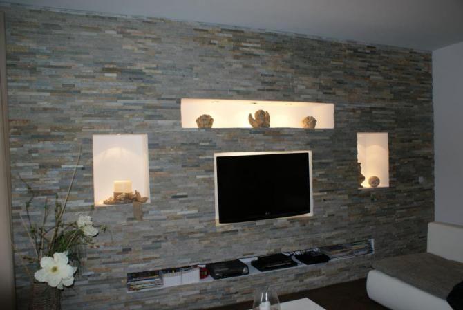 Individuelle Mobel Selber Bauen Steinwand Wohnzimmer Wohnen Wohnwand Selber Bauen