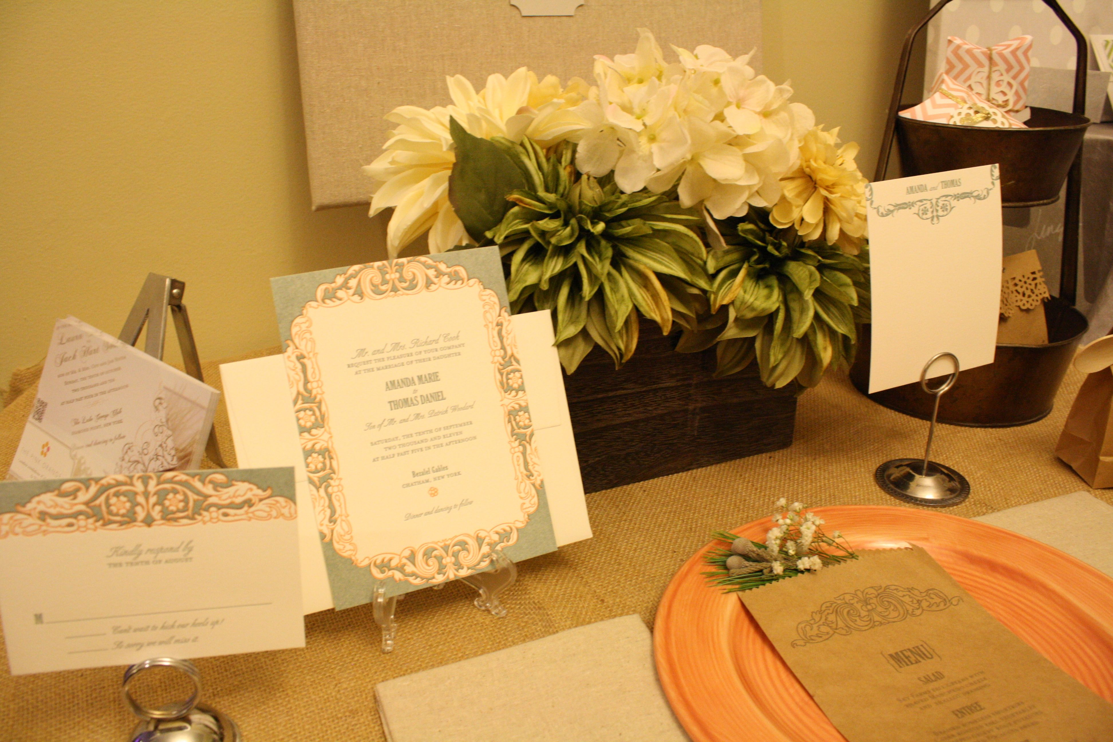 Wedding Invitation Display at the 2012 Bridal Show    Join us November 3 from 1-4pm for our 5th Annual Bridal Show!