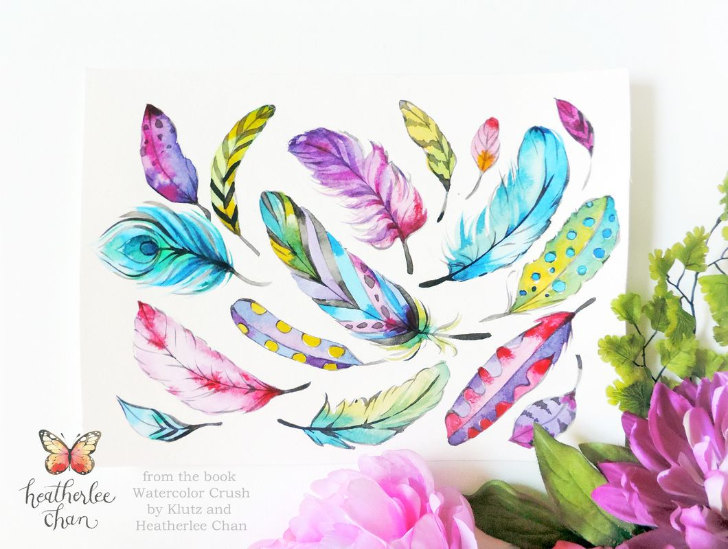 feathers watercolor watercolor crush a watercolor coloring book by klutz and illustrations by heatherlee chan - Watercolor Coloring Book