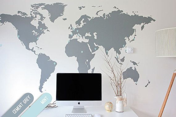 World map decal large wall sticker with pins by vinylimpression world map decal large wall sticker with pins by vinylimpression gumiabroncs Image collections