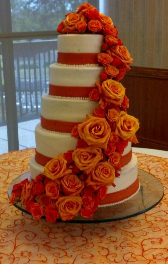 chocolate brown and burnt orange wedding cakes 5 tier wedding cake burnt orange fall wedding my cakes 12688