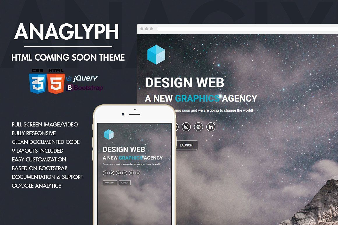 Anaglyph - Coming Soon Template CSS, HTML, JPG | Website Templates ...