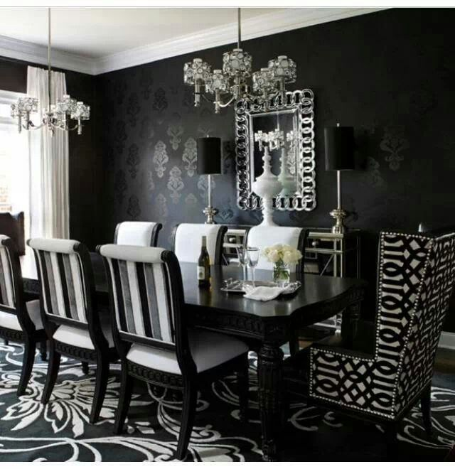 Absolutely Love This Dining Room Victorian Black And White Dining Room Black Dining Room