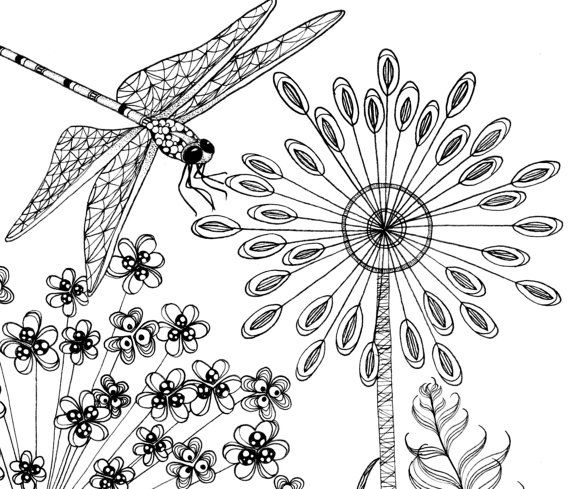 Printable coloring pages of a flower by TheTangledPeacock on Etsy ...