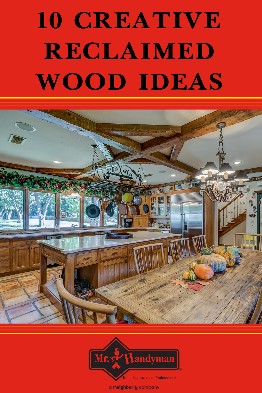 By using reclaimed wood, material salvaged from older building and structures, including homes, factories, and warehouses, you choose a green material solution that adds warmth, value and a bit of history to your home! 👍 #MrHandyman #Wood #WoodIdeas #WoodFurniture #WoodProjects #HomeImprovement #HomeDecorations #HomeIdeas #Home