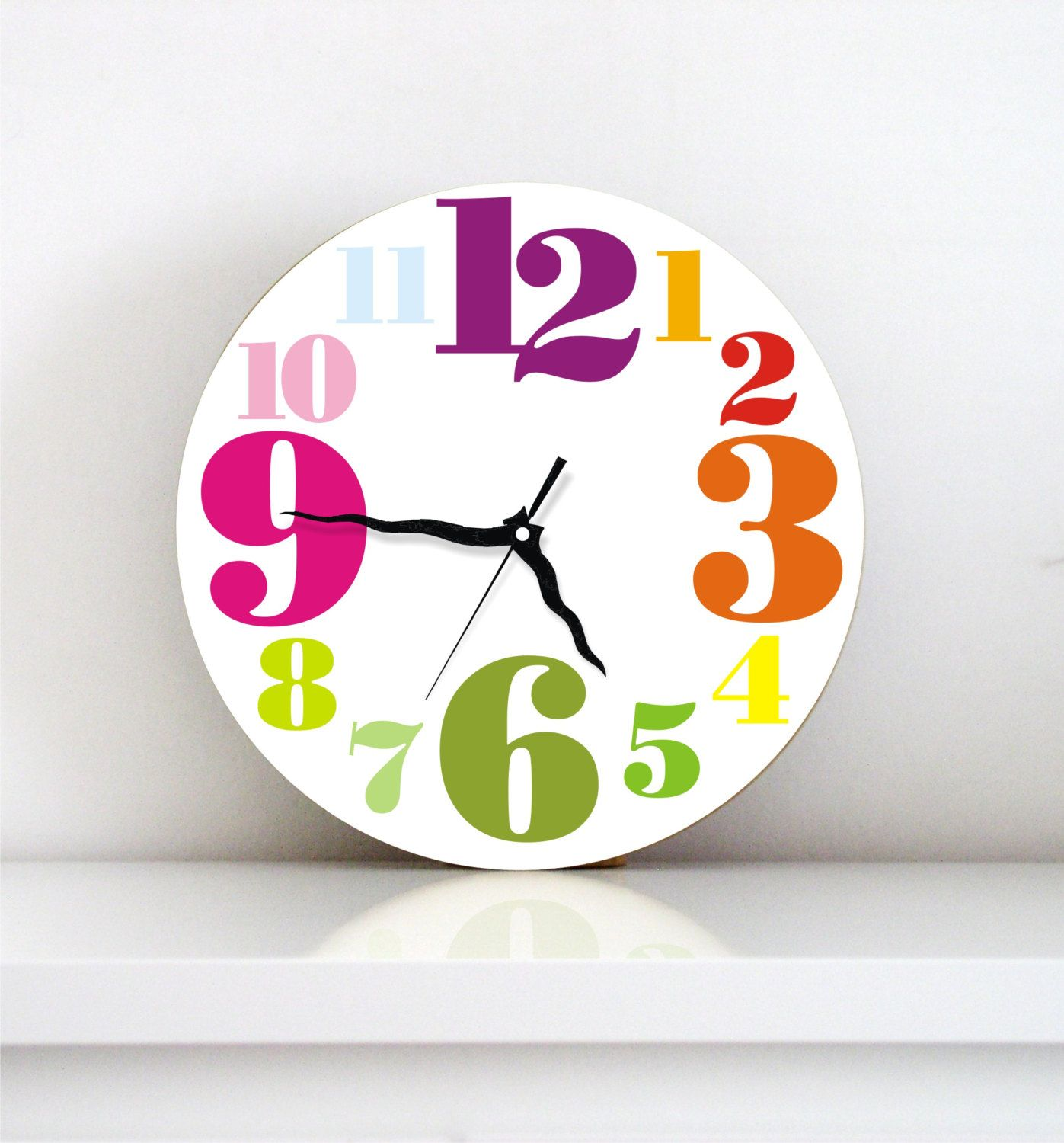 Childrens room wall clock kids decor nursery wall art childrens room wall clock kids decor nursery wall art rainbow colorful typography numbers amipublicfo Image collections