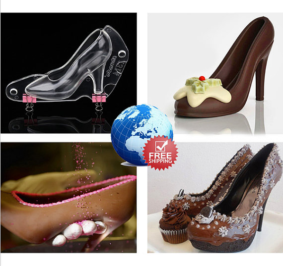 7289314238f3 High Heel Shoe Type Chocolate Mold Mould Bundle 3D Candy Cookies Tool PC DIY