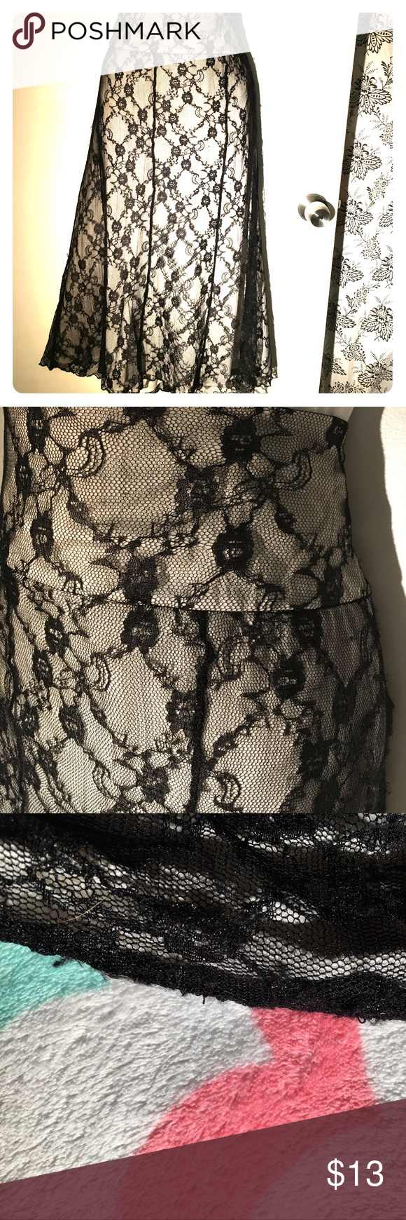 Cream skirt w black lace overlay. Zipper Cream skirt w black lace overlay. Zipper on the side. There is a small bit of wear on the area where the zipper is. But skirt is in good condition otherwise Worthington Skirts A-Line or Full