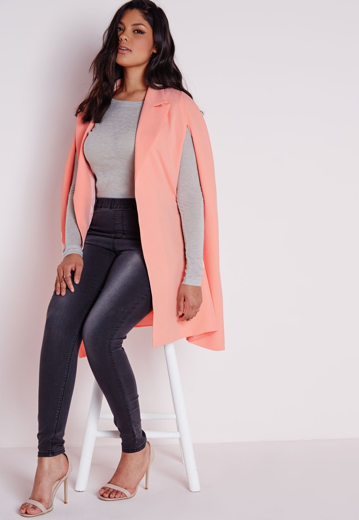 138e5e75ea Plus Size Cape Blazer Crepe Blush - Plus Size Coats & Jackets - Missguided+