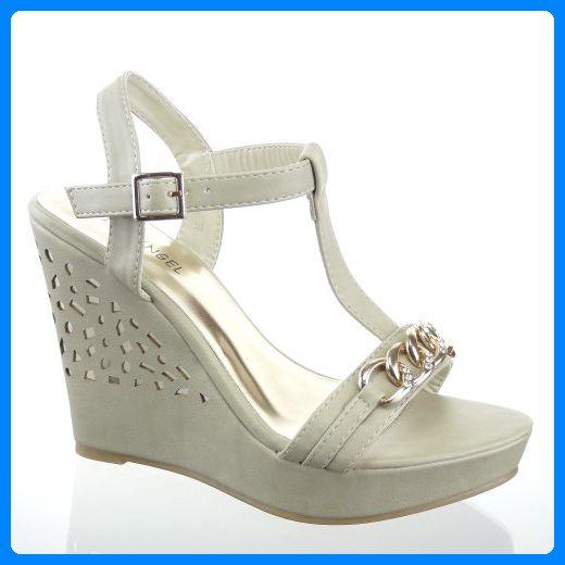 Kickly - damen Mode Schuhe Sandalen Pumpe Strass Schuhabsatz Keilabsatz  high heel - Beige T 37