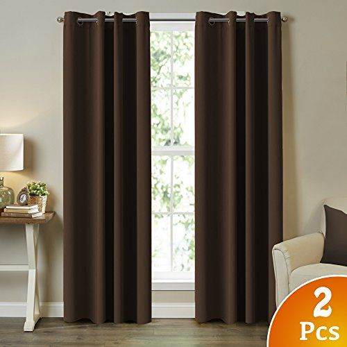TURQUOIZE 2 Panels Solid Blackout Drapes Seal Brown Themal Insulated GrommetEyelet Top NurseryLiving Room Curtains Each Panel 52 W x 84 L * Click image to review more details.-It is an affiliate link to Amazon. #LivingRoom