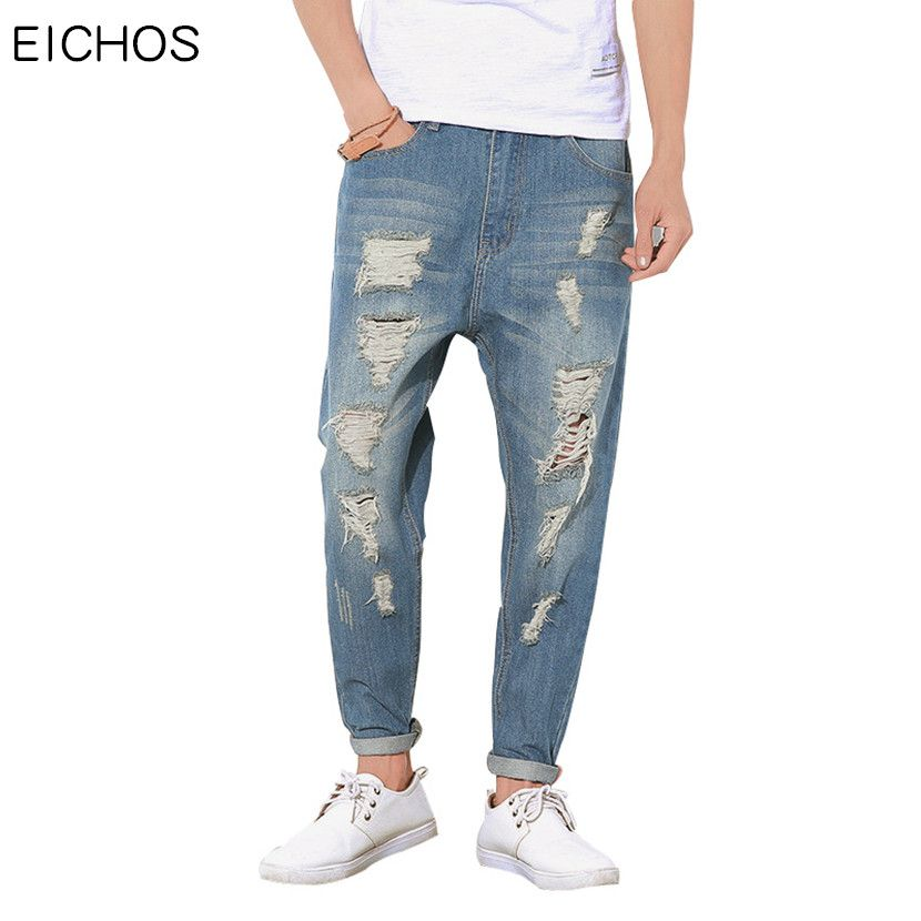 eb057a12aa9 Summer Thin Style Baggy Jeans Fashion Vintage Moustache Effect Ripped Jeans  For Men Loose Hole Vaqueros