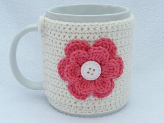 Crochet mug cozy with flower applique. Birthday gift, accessories ...