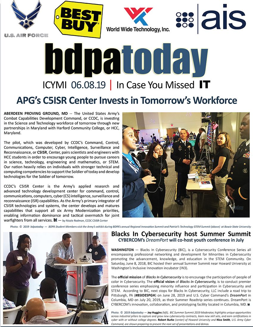 Bdpatoday Icymi 06 08 19 Aberdeen Proving Ground S Apg C5isr Center Black With Images Information And Communications Technology Cyber Security Success Stories