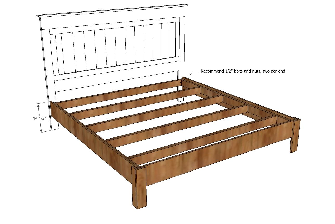 Ana white build a king size fancy farmhouse bed free for House bed frame plans