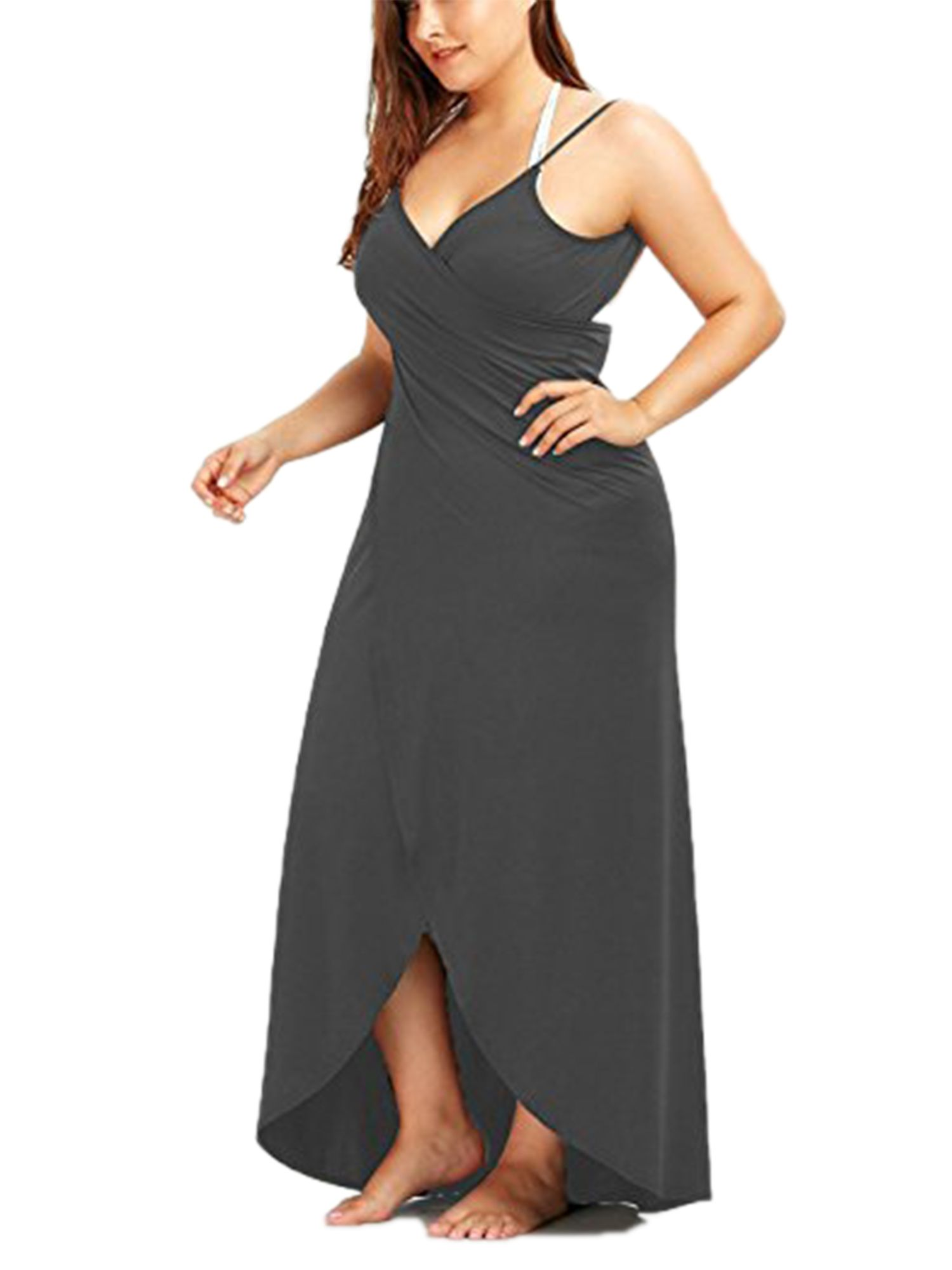 bdb198b9e176e Women s Sexy Deep V-Neckline Maxi Backless Beach Dress Bikini Wrap Swimsuit  Strap Cover Up