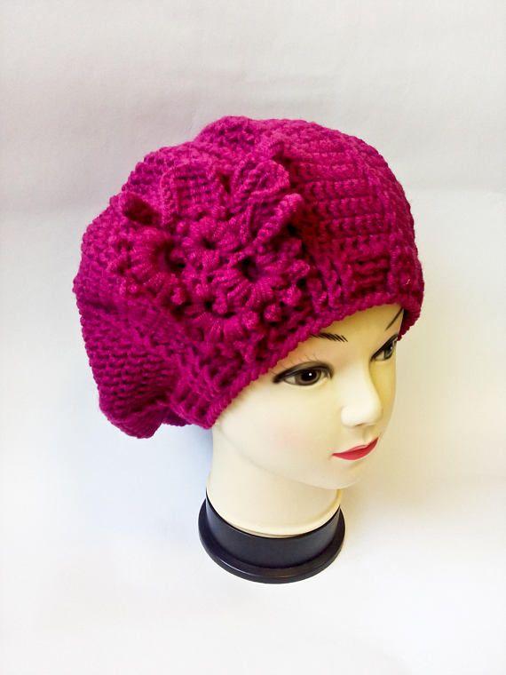 Fuchsia crochet beret with freeform pin Crochet winter beret ...