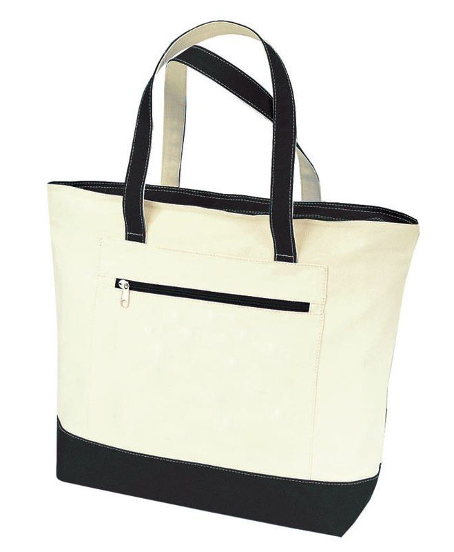 5c458e500c18f Heavy Canvas Zippered Shopping Tote Bags