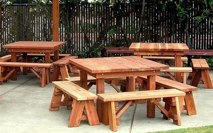Hand Made Picnic Tables Really Like This Picnic Table Idea Picnic Table Picnic Table Plans Patio Table Set