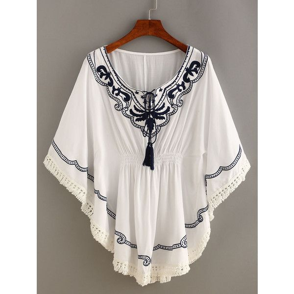 Embroidery Tassel-Tie Crochet Trimmed Poncho Dress (170 SEK) ❤ liked on Polyvore featuring dresses, white, shift dress, mini dress, vintage dresses, vintage embroidered dress and 3/4 sleeve dress