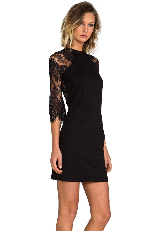96463236299 BB Dakota Princeton Ponte Dress w/ Lace Sleeves in Black | Dresses ...