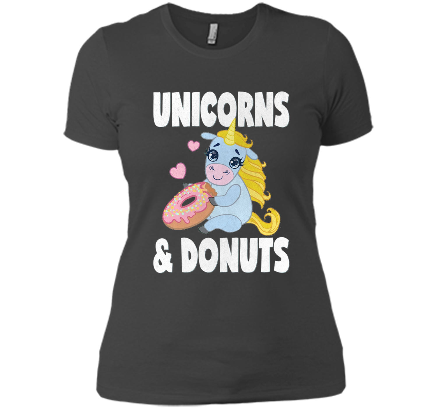 Unicorns and Donuts Vintage Cute Donuts Heart Love T-Shirt