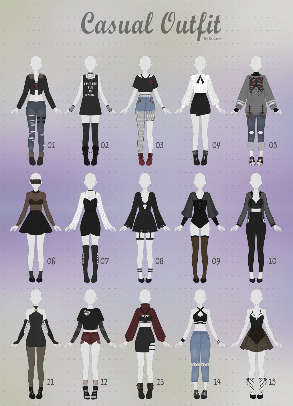 Open 115 casual outfit adopts 24 by rosariy drawing