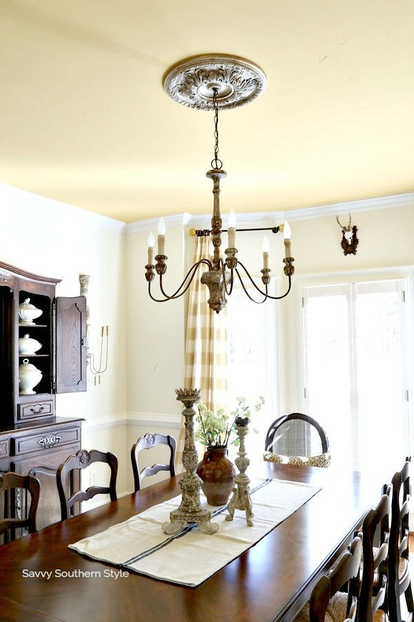 Ceiling medallion makeover ceiling medallions savvy southern style and country chandelier