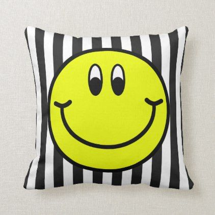 Happy Smiling Face Emoji Striped Throw Pillow   Zazzle com