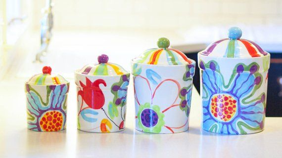 Kitchen Pottery Canisters Quality Cabinets Canister Set Ceramic Colorful Kitch