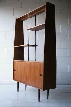 1960s Teak Room Divider Mid Century Modern Display cabinet