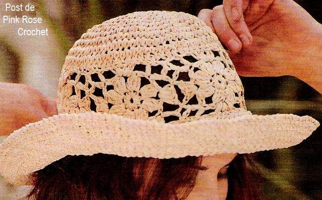 dbdac0747f621 PINK ROSE CROCHET  Chapéu Ráfia de Crochê com Gráfico - Crochet Hat ...